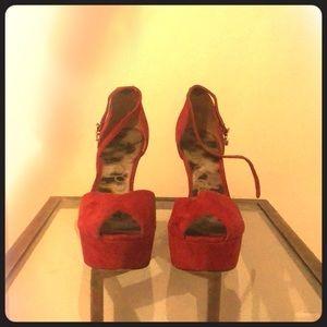 Sam Edelman Red Platform Heel size 9
